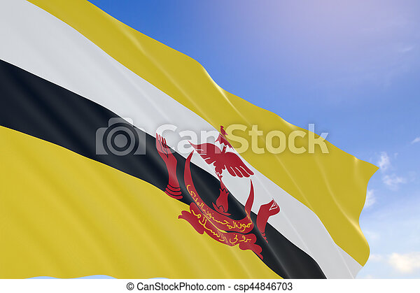 3D rendering of Brunei flag waving on blue sky background - csp44846703