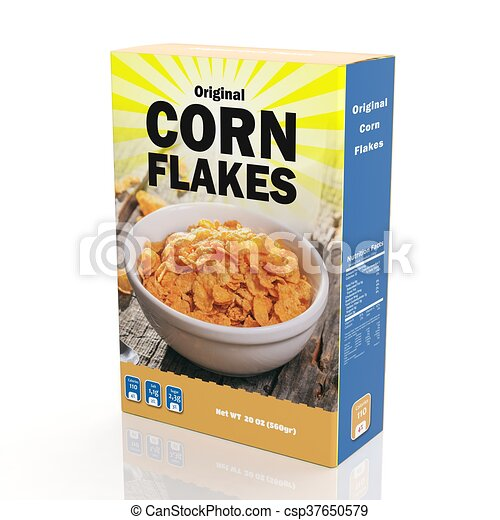 3D rendering of Corn Flakes paper packaging, isolated on white background. - csp37650579