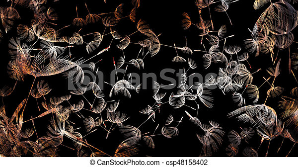 3d rendering of dandelion blowing silhouette. Flying blow dandelion buds black outdoor decoration on white - csp48158402