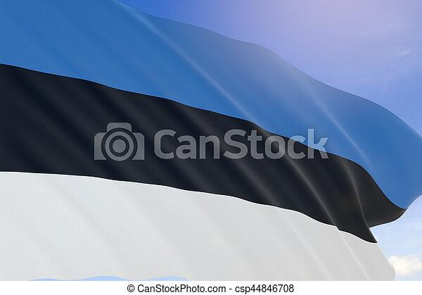 3D rendering of Estonia flag waving on blue sky background - csp44846708