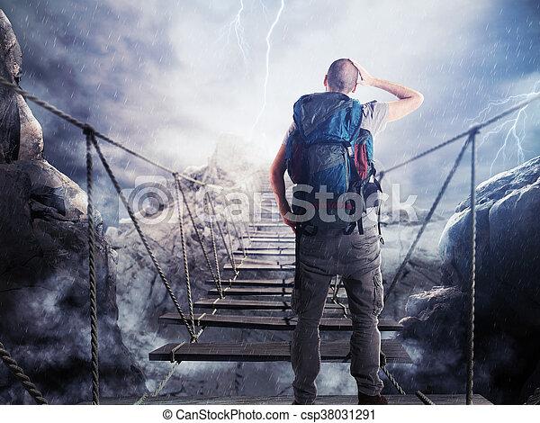 3D Rendering of explorer on unstable bridge - csp38031291