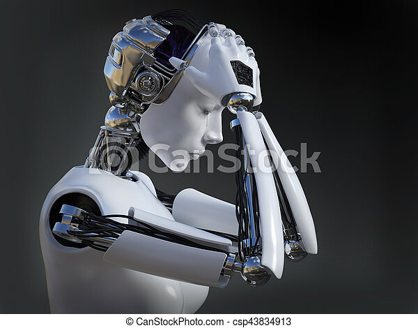 3D rendering of female robot crying nr 2. - csp43834913