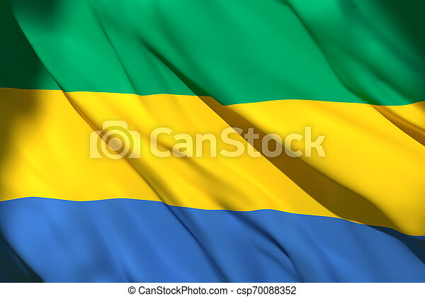 3d rendering of Gabon flag - csp70088352