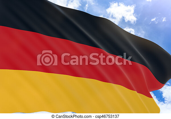 3D rendering of Germany flag waving on blue sky background - csp46753137