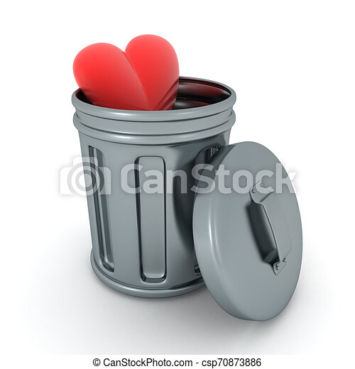 3D Rendering of heart in retro garbage can - csp70873886