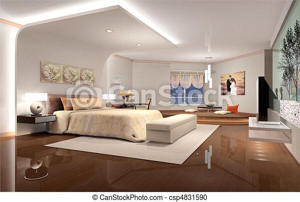 3D rendering of home interior - csp4831590