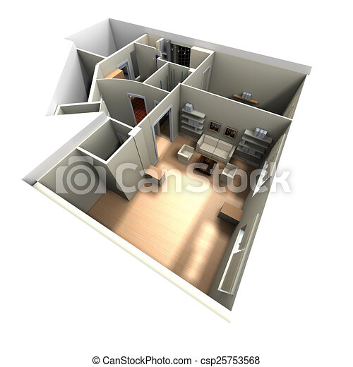 3D rendering of home interior focused on living room - csp25753568
