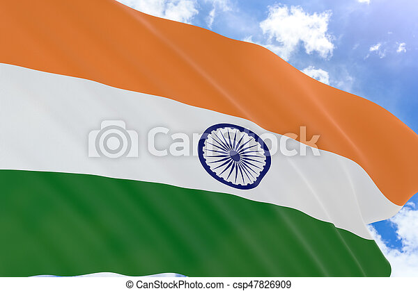 3D rendering of India flag waving on blue sky background - csp47826909