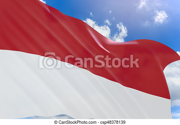 3D rendering of Indonesia flag waving on blue sky background - csp48378139