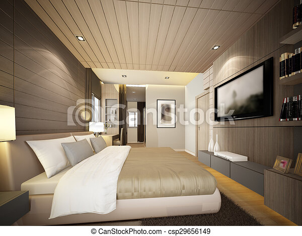 3d rendering of interior bedroom  - csp29656149