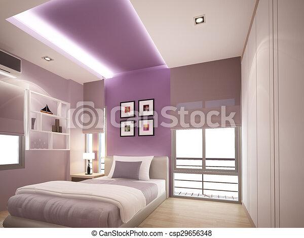 3d rendering of interior bedroom  - csp29656348
