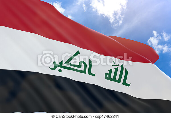 3D rendering of Iraq flag waving on blue sky background - csp47462241