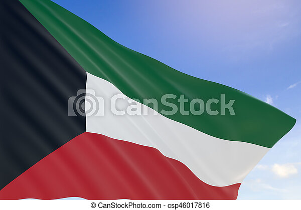3D rendering of Kuwait flag waving on blue sky background - csp46017816