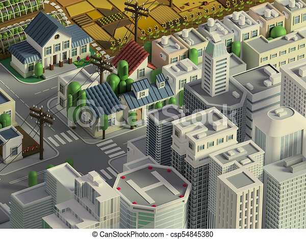3d rendering of low poly isometric city  Cartoon landscape