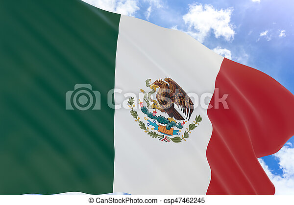 3D rendering of Mexico flag waving on blue sky background - csp47462245