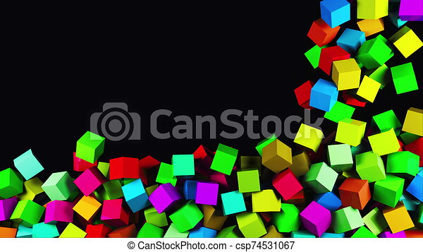 3D rendering of modern background. Computer generated animation many multicolor cubes fall on top and fill the entire screen - csp74531067