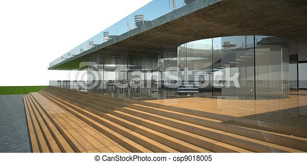 3d rendering of modern building, luxury restaurant exterior, white sky .