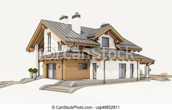 3d rendering of modern cozy house in chalet style with for Chalet style homes for sale