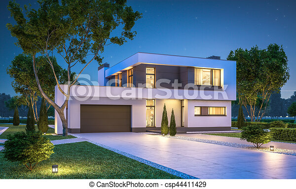 3d Rendering Of Modern Cozy House With Garage For Sale Or Rent With