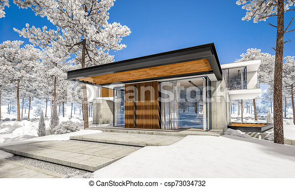 3d Rendering Of Modern House On The Hill With Pool In Winter Day 3d Rendering Of Modern Cozy House On The Hill With Garage Canstock