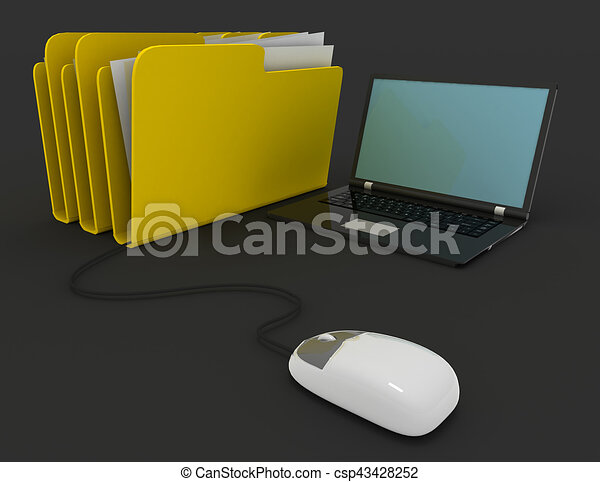 3d rendering of mouse with file folder - csp43428252