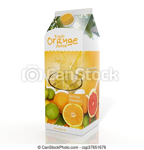 3D rendering of  Orange Juice paper packaging, isolated on white background. - csp37651676