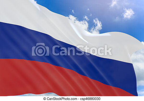 3D rendering of Russia flag waving on blue sky background - csp46880030