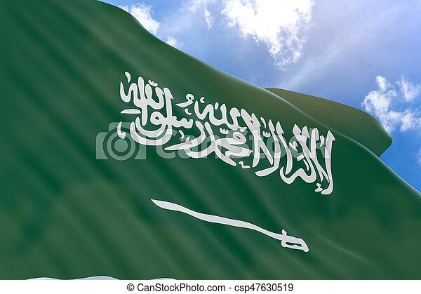 3D rendering of Saudi Arabia flag waving on sky background - csp47630519