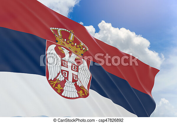 3D rendering of Serbia flag waving on blue sky background - csp47826892