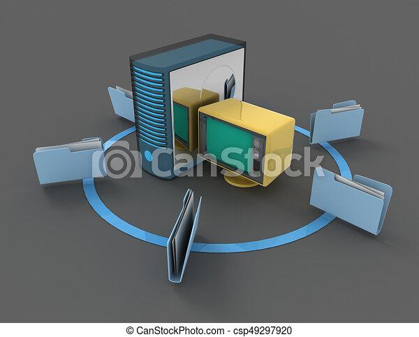 3d rendering of Server with file folder. 3D rendered illustration - csp49297920