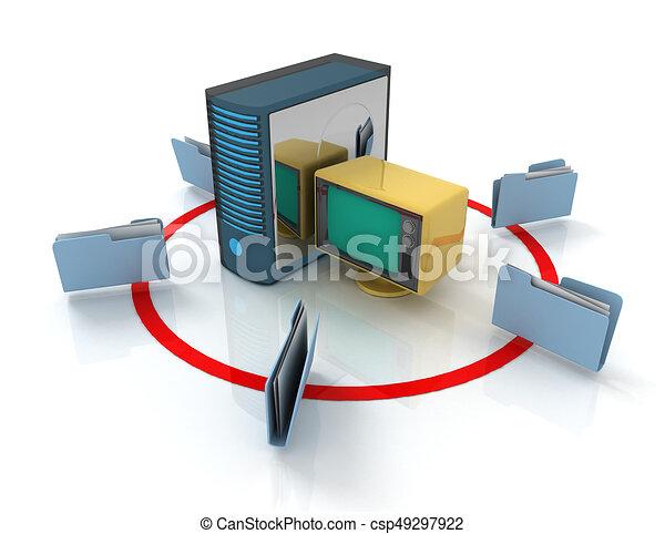 3d rendering of Server with file folder. 3D rendered illustration - csp49297922