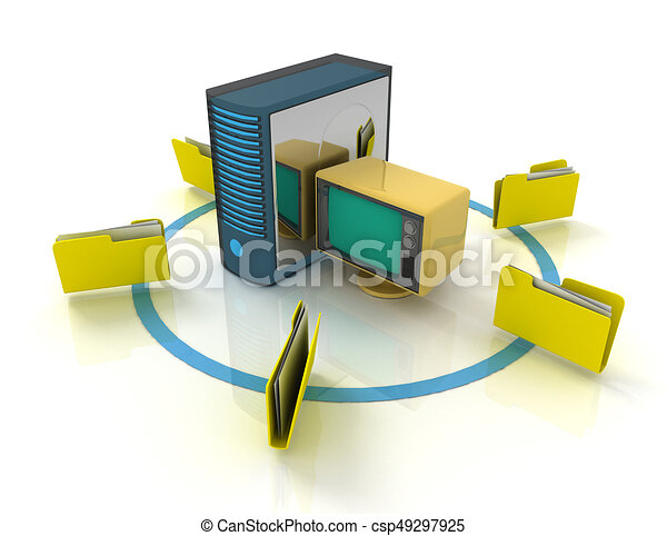 3d rendering of Server with file folder. 3D rendered illustration - csp49297925