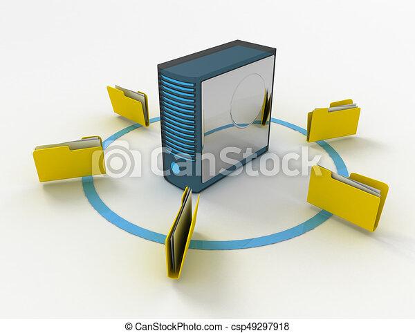 3d rendering of Server with file folder. 3D rendered illustration - csp49297918