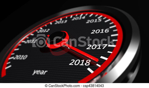 3D rendering of speedometer with 2018 closeup, on black - csp43814043