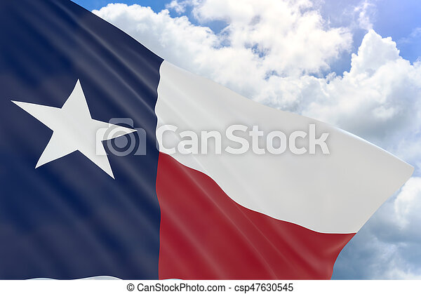 3D rendering of Texas flag waving on blue sky background - csp47630545