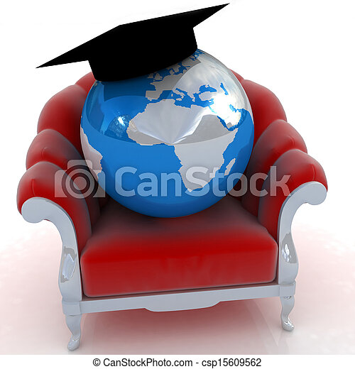 3D rendering of the Earth on a chair - csp15609562