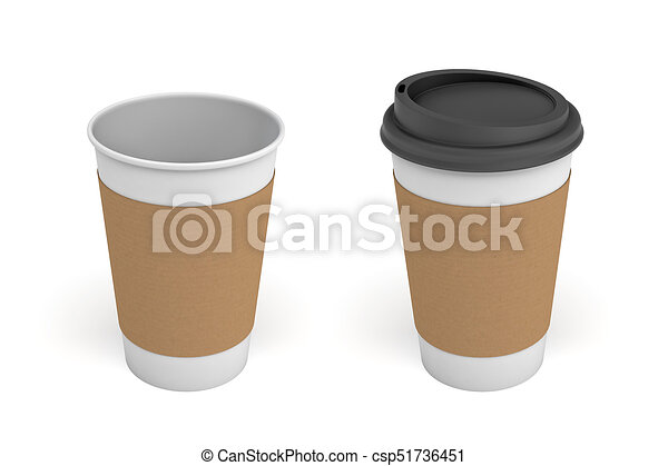 3d rendering of two white coffee cups with carton sleeves ...