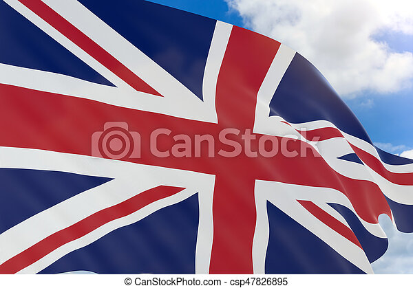 3D rendering of United Kingdom flag waving on blue sky background - csp47826895