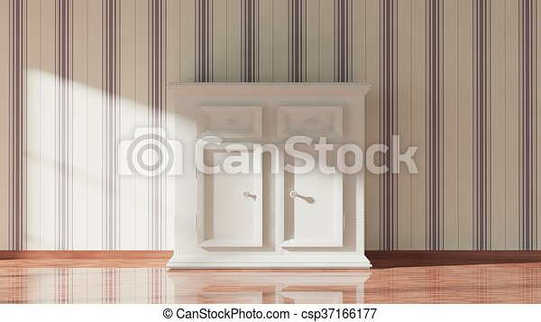 3D rendering of white wooden cupboard, home interior - csp37166177