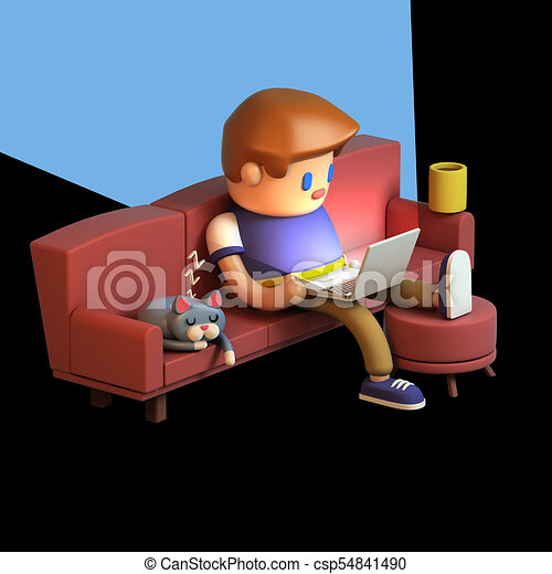 Fantastic 3D Rendering Of Young Man Sitting On A Couch And Working On Laptop Caraccident5 Cool Chair Designs And Ideas Caraccident5Info