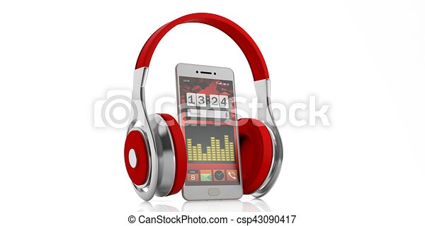 3d rendering pair of red wireless headphones and a smartphone - csp43090417