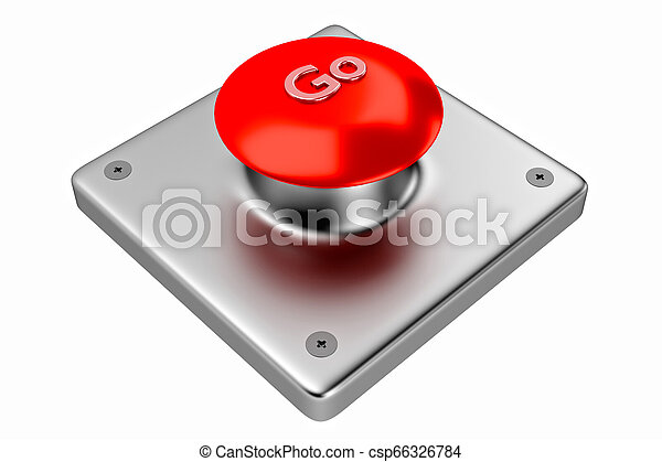 3D rendering. Red web button with go. - csp66326784