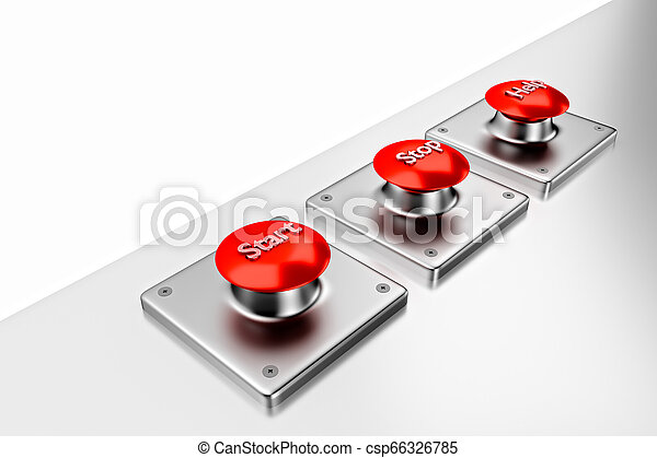 3D rendering. Red web buttons with start, stop, help. - csp66326785