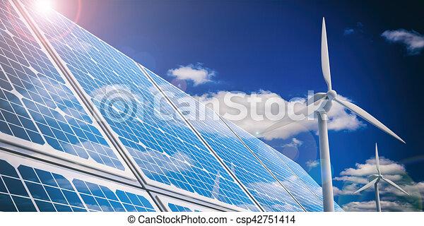 3d rendering solar panels and wind generators - csp42751414