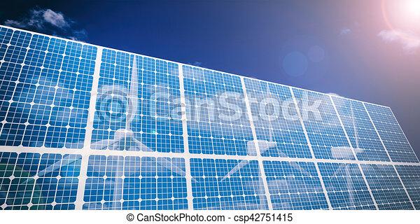3d rendering solar panels and wind generators - csp42751415