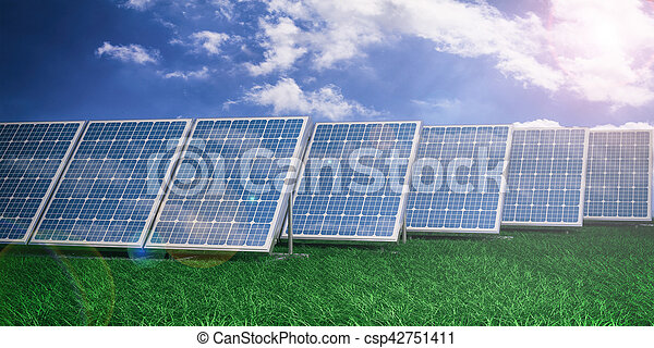 3d rendering solar panels on blue sky background - csp42751411