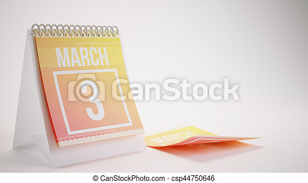 3D Rendering Trendy Colors Calendar on White Background - march 3 - csp44750646