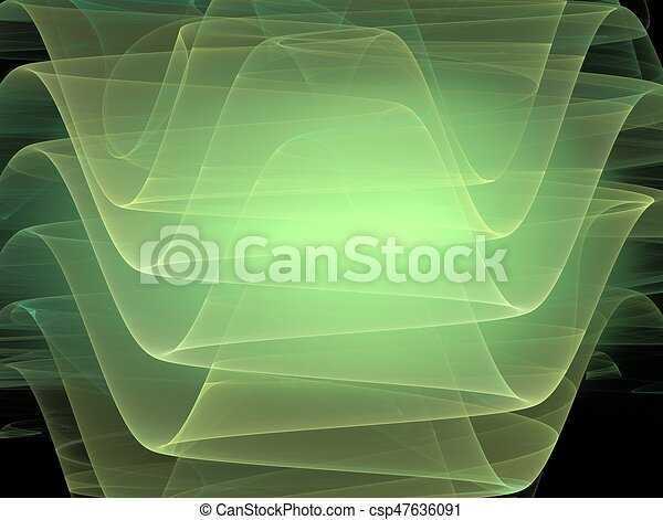 3D rendering with  green abstract fractal curves - csp47636091