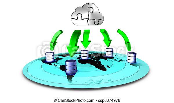 3d, reserva, nube, ilustración, base de datos - csp8074976