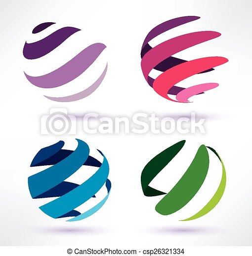3d, resumen, conjunto, globo, iconos - csp26321334